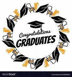 Congratulations Graduate Banner Congrats Graduates Round Banner With Students Vector Image