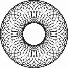 A Circle 48 Overlapping Circles About A Center Circle And Inside A