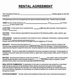 Rental Agreement Template Word Document Rental Agreement Real Estate Forms Rental Agreement