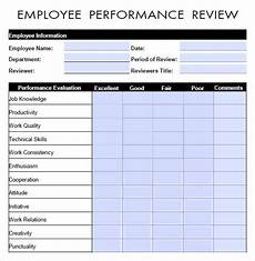Employee Review Form Free 9 Sample Performance Evaluation Templates In Pdf