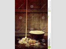 Mop And Bucket With Wet Soapy Floor Royalty Free Stock Photo   Image: 32798845