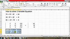 How To Use Solver In Excel How To Solve 3 Variable Equation By Using Excel Youtube
