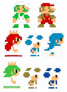 Pixelated Mario Characters Mario Bros Pixel Characters Retro By