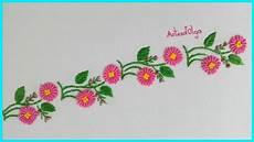 embroidery border line design with bullion stitch