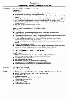 Accounting Manager Resume Accounting Manager Controller Resume Samples Velvet Jobs