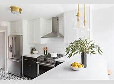 Black Lower Cabinets with Brass Cup Pulls   Transitional   Kitchen