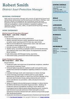 Asst Manager Resume Asset Protection Manager Resume Samples Qwikresume