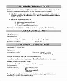 Free Subcontractor Agreement Free 9 Sample Subcontractor Agreement Templates In Pdf