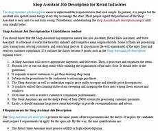 Job Description For Shop Assistant Shop Assistant Job Description For Retail Industries