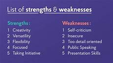A List Of Strengths And Weaknesses 22 Strengths And Weaknesses For Job Interviews 2020 Best