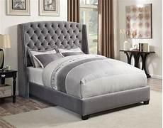 pissarro grey velvet king platform bed from coaster