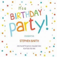 Free Printable Kids Birthday Invitations Confetti Dots Border Birthday Invitation Template Free