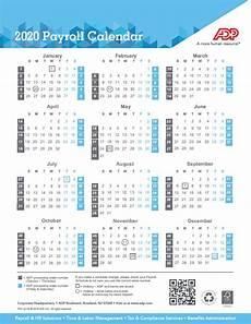 2020 Payroll Calendar Template Payroll Calendar 2020 Weekly Biweekly Semi Monthly