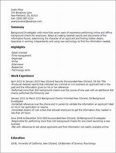Professional Background Resume Examples Background Investigator Resume Template Best Design