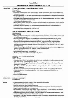 Sample Resume Word Word Processor Resume Samples Velvet Jobs
