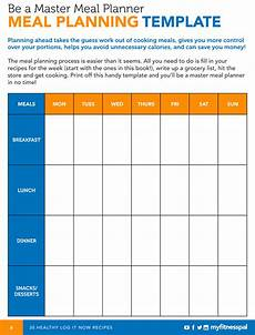 Meal Planner With Nutritional Information Be A Master Meal Planner With This Template Myfitnesspal