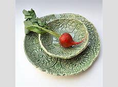 Celadon Green Lace Ceramic dinnerware Serving set handmade