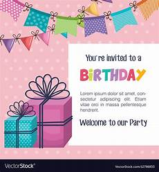 Birthday Invite Images Happy Birthday Party Invitation With Gift Vector Image