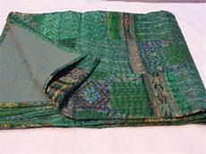 vintage quilt patola indian silk sari kantha quilted