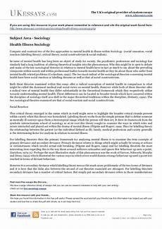 Essays About Health Sociology Essays Mental Health Amp Illness Within Sociology