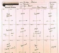 Recording Track Sheet Bruce Swedien Recording Michael Jackson