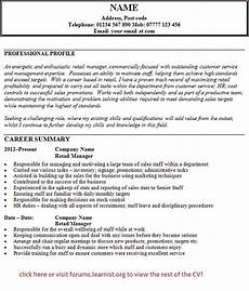 Retail Cv Sample Cv Templates Page 6 Of 16 Learnist Org