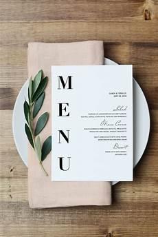Wedding Menu Cards Wedding Menu Template Modern Menu Cards Template Minimal