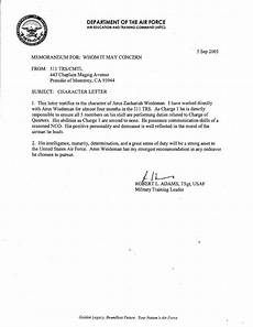 Air Force Letter Of Recommendation For Special Duty Assignment Character Letter United States Air Force By Zachariah