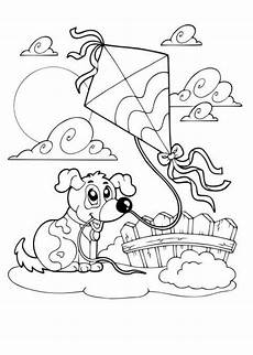 ausmalbilder hund mit drachen tiere zum ausmalen