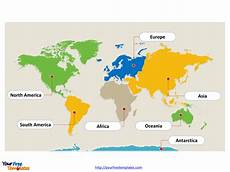 Continent Template World Map With Continents Free Powerpoint Templates