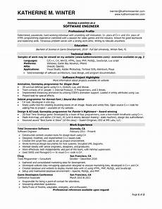 Resume Format Experienced Software Engineer Software Engineer Resume Samples Sample Resumes