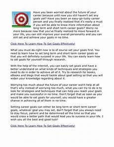 What Is A Good Career Goal Short Term Career Goals Setting Personal Goals