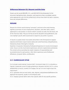 Resume And Biodata Difference Difference Between Cv Resume And Bio Data