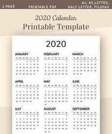 One Page Yearly Calendar 2020 One Page Calendar 2020 Yearly Calendar Printable Template