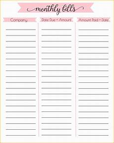 Monthly Bills List 5 Free Personal Budget Template Excel Exceltemplates