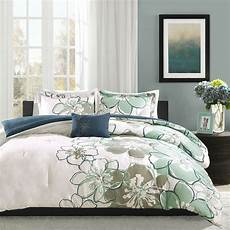 Contemporary Blue Beautiful 4pc Chic Floral Modern Blue Green White Girl