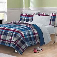 new varsity plaid boys bedding comforter sheet set