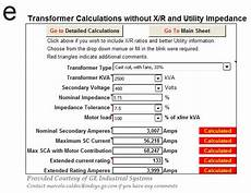 Transformer Fusing Chart Transformer Calculations Spreadsheets Electrical Knowhow