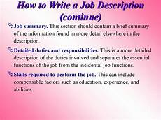 How To Write A Job Summary For A Resume Human Resource Management Session 3 Designing Jobs And