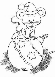 Malvorlagen Zum Ausdrucken Weihnachten Lustig Weihnachtskugel Mit Einer Maus Weihnachtsmalvorlagen