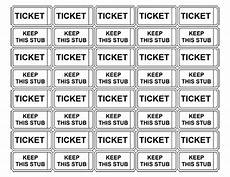 Template For Tickets With Numbers Printable Admission Tickets Without Numbers Raffle