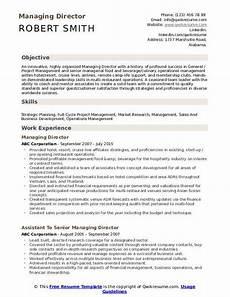 Resume Managing Director Managing Director Resume Samples Qwikresume