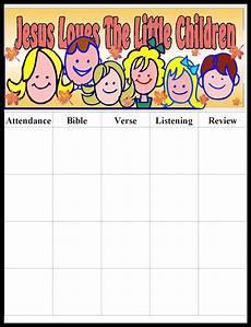 Printable Attendance Chart For Kids Children S Gems In My Treasure Box Jesus Loves The Many