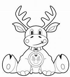kostenlose malvorlage weihnachten sitzender elch zum ausmalen