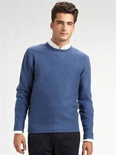 Mens Designer Sweaters On Sale Saks Fifth Avenue Men Collection Cashmere Sweater In Blue