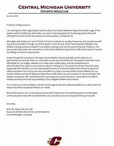 Athlete Letter Of Recommendation Central Michigan University Sports Medicine Department