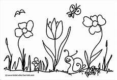 einfache ausmalbilder mit blumen und natur zeichnungen