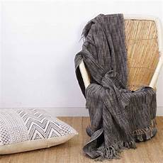 grey lightweight throw textured blanket with fringe for