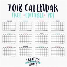 Free Blank Printable Calendars Free 2018 Calendar Editable Pdf Creatingmaryshome Com