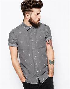 mens shirt sleeve button up lyst asos denim shirt in sleeve with geo print in
